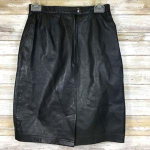 Vintage Skirts - Vintage 1980s Bagatelle Black Leather Pencil Skirt